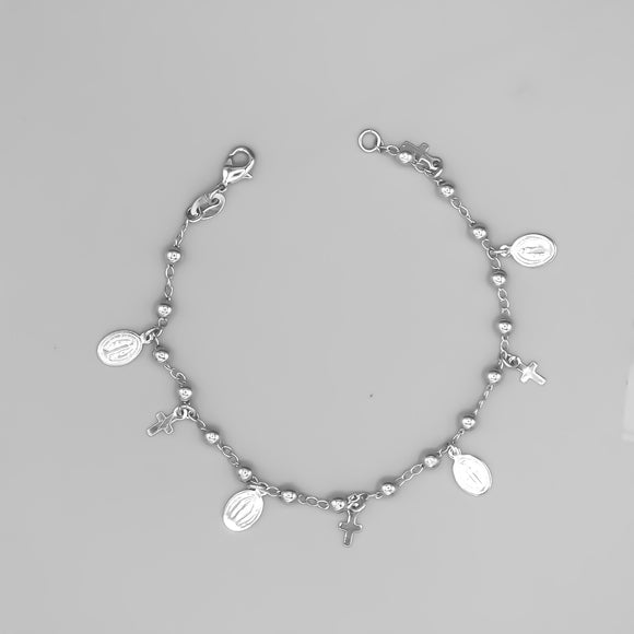 Silver Plated Bracelet with Our Lady of Grace and Cross Charms and Beads, 7