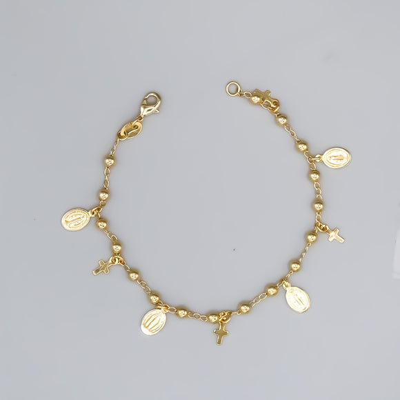 Gold Plated Bracelet with Our Lady of Grace and Cross Charms and Beads, 7