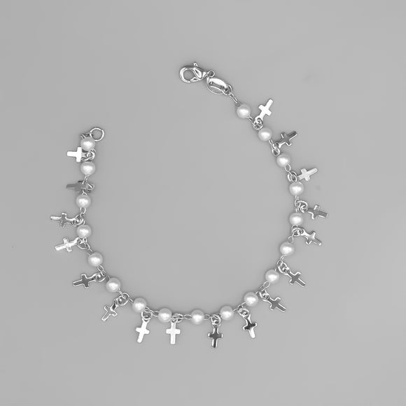 Silver Plated Bracelet with Dangling Cross Charms and Pearls. 7