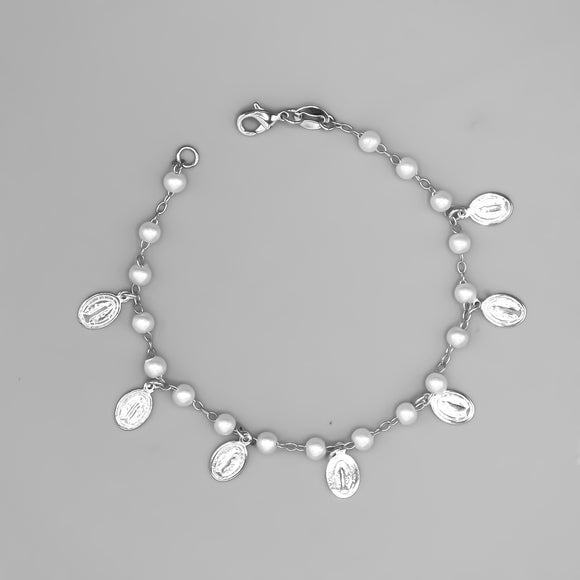 Silver Plated Our Lady of Grace Charms with Simulated Pearls Bracelet, 7