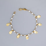 Gold Plated Our Lady of Grace Charms with Simulated Pearls Bracelet, 7""