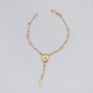 Gold Plated Rosary Bracelet of Our Lady of Charity, 7""