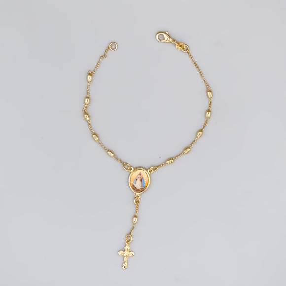 Gold Plated Rosary Bracelet of Our Lady of Charity, 7