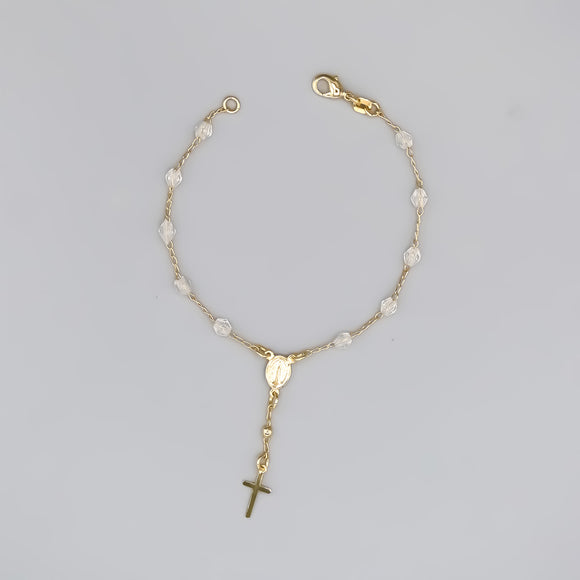 Gold Plated Rosary Bracelet with Clear Crystals and a Miraculous Medal, 7