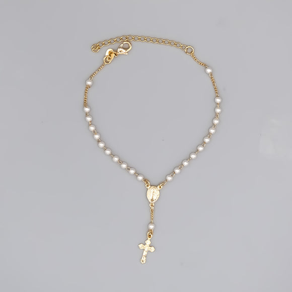 Gold Plated Rosary Bracelet with Pearls and Miraculous Medal, 7