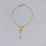 Gold Plated Rosary Bracelet with Pearls and Medal of Our Lady of Charity, 7""