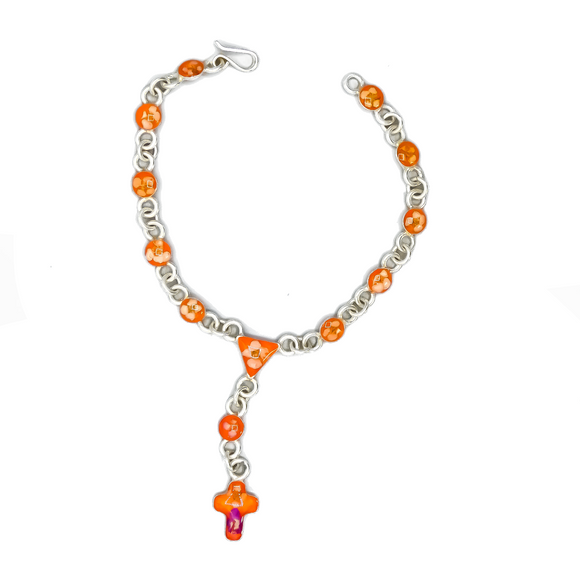 Silver Plated Rosary Orange Bracelet with Natural Flowers, 7