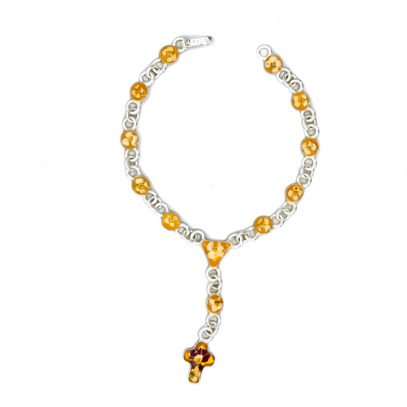 Silver Plated Rosary Yellow Bracelet with Natural Flowers, 7