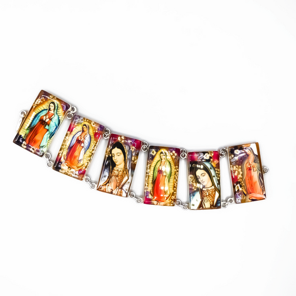 Silver Plated Our Lady of Guadalupe Large Bracelet with Real Flowers, 8.5