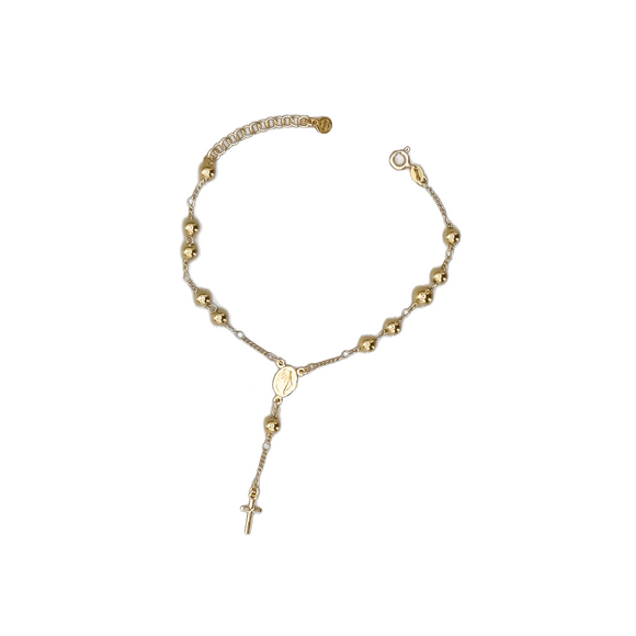 Gold Plated Rosary Bracelet with Miraculous Medal, 7