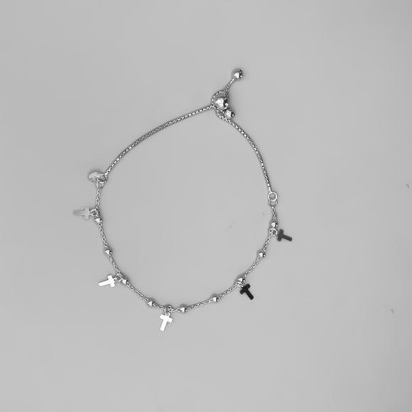Rhodium Plated Sterling Silver Lariat Bracelet with Beads and Cross Charms, 7