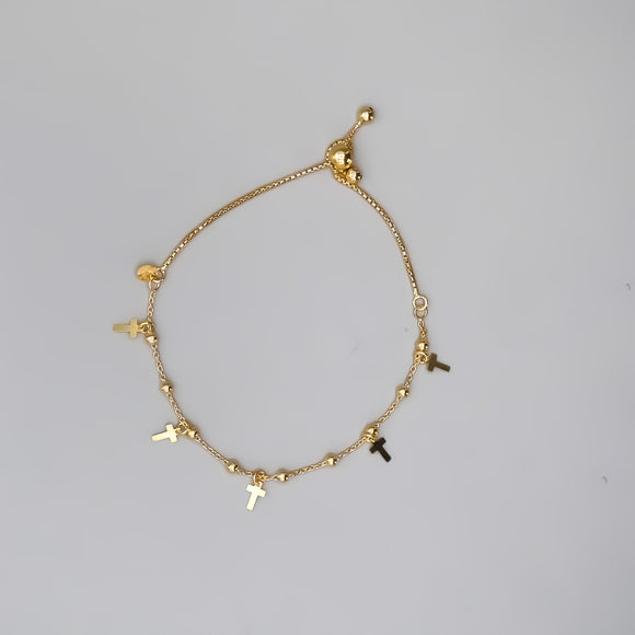 Gold Plated Sterling Silver Lariat Bracelet with Beads and Cross Charms