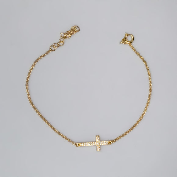 Gold Plated Sterling Silver Bracelet with Sideways Cross and Cubic Zirconias, 7
