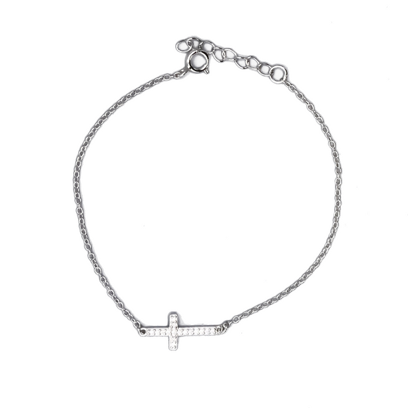 Rhodium Plated Sterling Silver Bracelet with Sideways Cross and Cubic Zirconias, 7