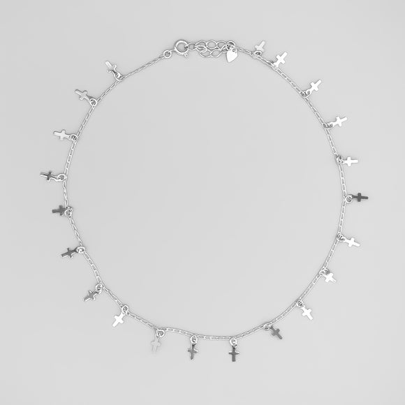 Silver Plated Cross Charms Choker, 14