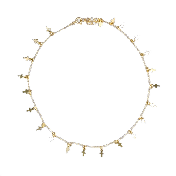 Gold Plated Cross Charms Choker, 14