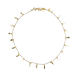 "Gold Plated Cross Charms Choker, 14""+3"""