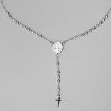 Silver Plated St Benedict Rosary Necklace, 16""