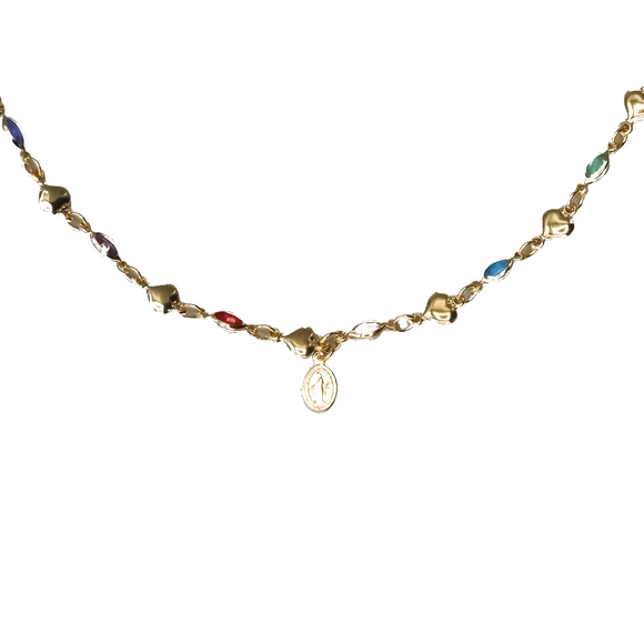 Gold Plated Multi-colored CZ Our Lady of Grace Medal Necklace, 16