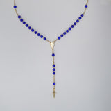 Gold Plated Blue Beads Our Lady of Grace Rosary Necklace, 16""