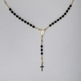 Gold Plated Black Crystal Beads Our Lady of Grace Rosary Necklace, 16""