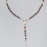 Gold Plated Black & Red Crystal Beads Grace Rosary Necklace, 16""
