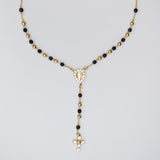Gold Plated Black Crystals and Rhinestones Guadalupe Rosary Necklace, 16""