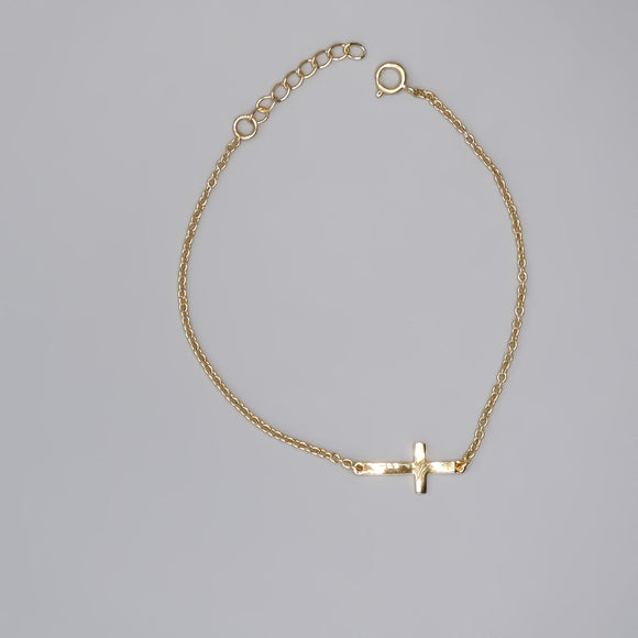 Gold Plated Sterling Silver Sideways Cross Bracelet, 7