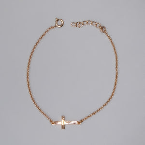 Rose Gold Plated Sterling Silver Sideways Cross Bracelet, 7""