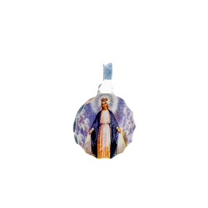 Round Sterling Silver Photoprint Our Lady of Grace Medal, 0.8""