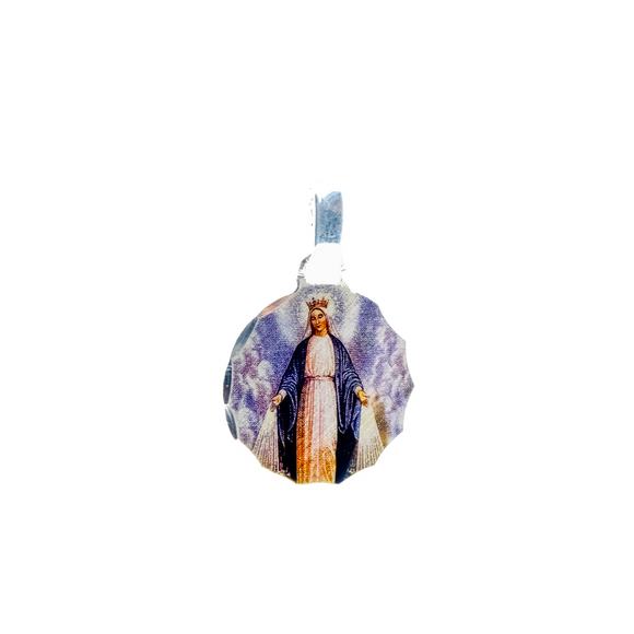 Round Sterling Silver Photoprint Our Lady of Grace Medal, 0.8
