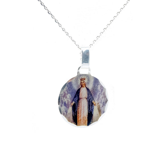 Sterling Silver Photoprint Round Our Lady of Grace Necklace, 16