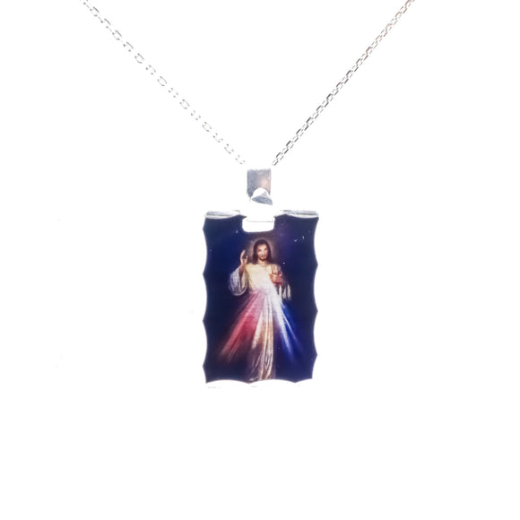 Sterling Silver Photoprint Divine Mercy Necklace, 16