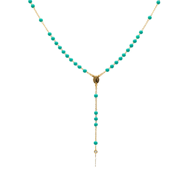 Gold Plated Aqua Blue Beads Our Lady of Grace Rosary Necklace, 16