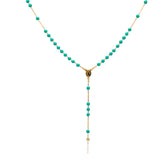 Gold Plated Aqua Blue Beads Our Lady of Grace Rosary Necklace, 16""