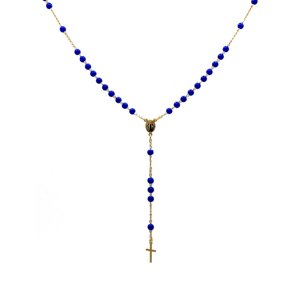 Gold Plated Blue Beads Our Lady of Grace Rosary Necklace, 16