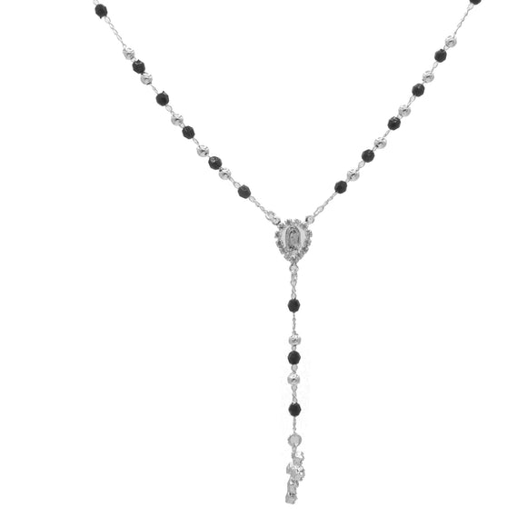 Silver Plated Black Crystals and Rhinestones Our Lady of Guadalupe Rosary Necklace, 16