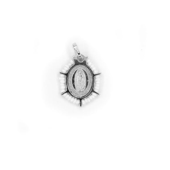 Sterling Silver Pendant of Our Lady of Guadalupe with Fresh Water Pearls Frame, 0.6