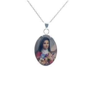 "Oval Silver Plated St Therese Necklace with Real Flowers, 16"" (M)"