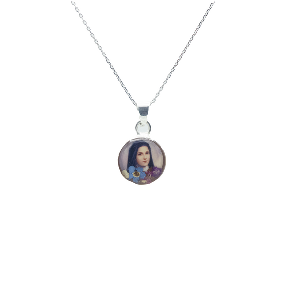 Round Silver Plated St Therese Necklace with Natural Flowers, 16