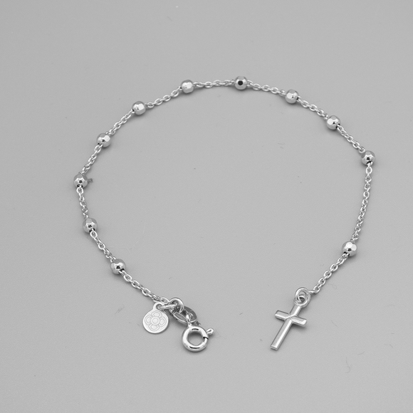 Sterling Silver Rhodium-Plated Rosary Bracelet with Cross, 7