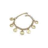 Gold Plated Bracelet with Catholic Charms, 7""
