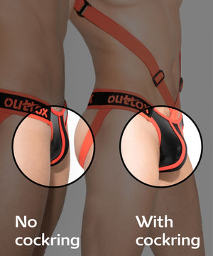 Open-pouch jockstraps with cockring