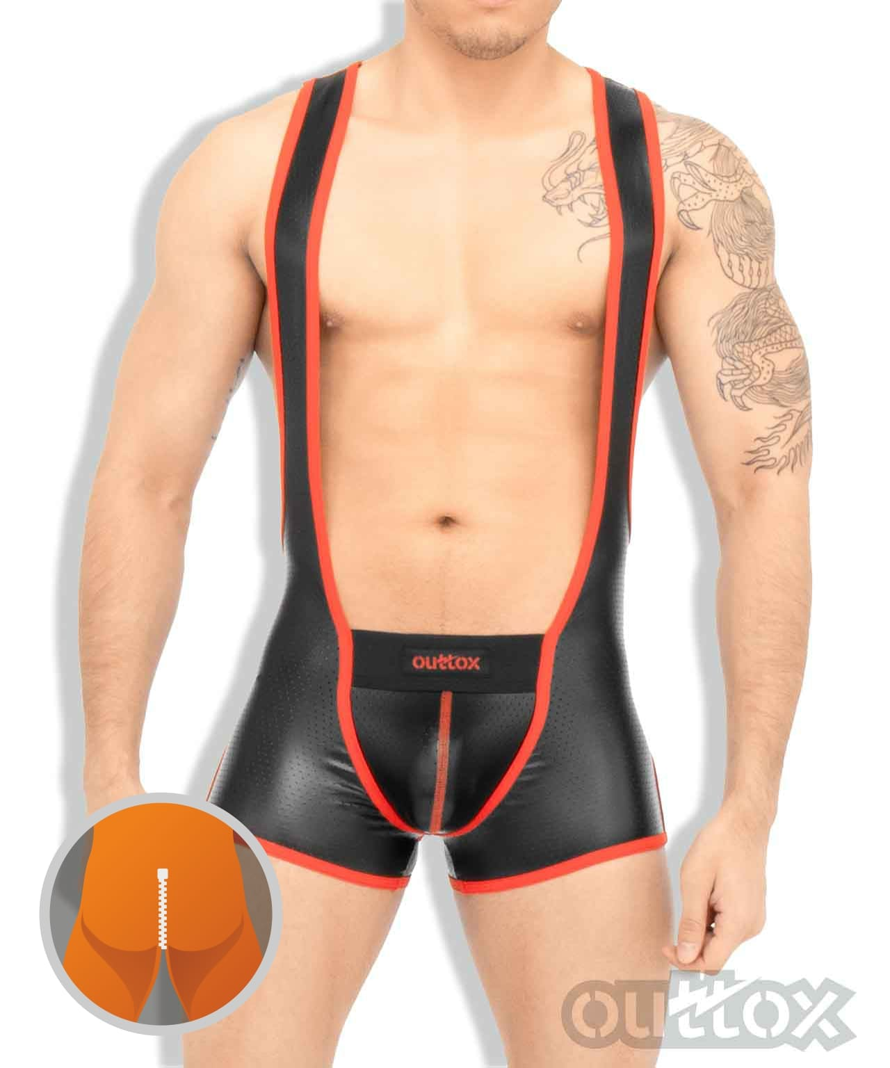 Zippered rear wrestling singlet