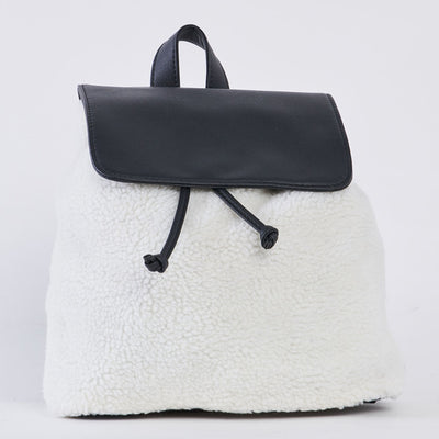 Soft Fur Backpack with Vegan Leather Flap - LottiLove Accessories