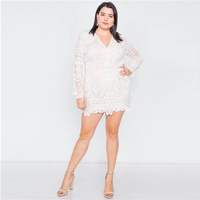 Full Sleeve Crochet Lace Party Dress - LottiLove Dresses