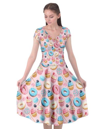 Sugar Rush Cap Sleeve Wrap Front Dress - LottiLove Made to Order