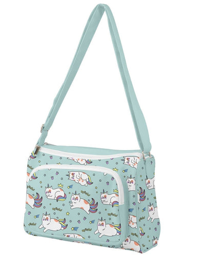 Front Pocket Crossbody Bag - Unicorn Cat - LottiLove Made to Order