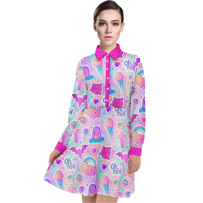 Long Sleeve Chiffon Shirt Dress - Oh No - LottiLove Made to Order