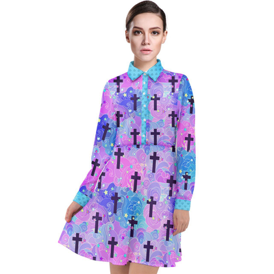 Long Sleeve Shirt Dress - Holy Water - LottiLove Made to Order